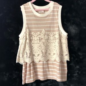 Anthropologie Stamp Tank Stripes & Lace
